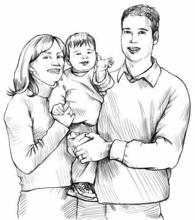 Красивый рисунок семья за столом карандашом (23)