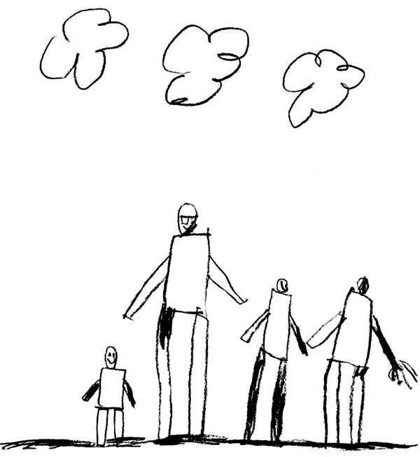 Красивый рисунок семья за столом карандашом (24)
