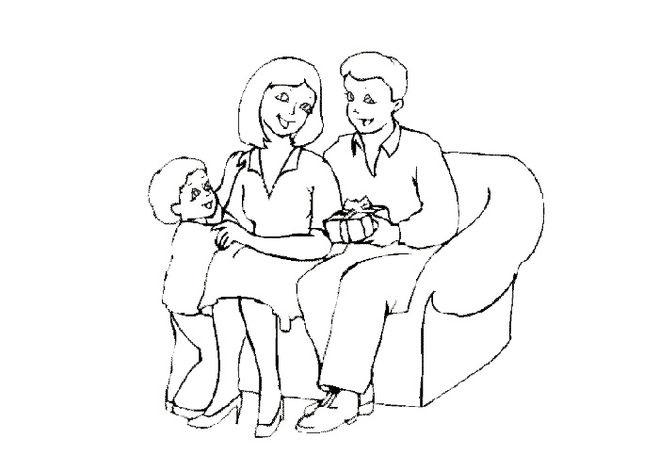 Красивый рисунок семья за столом карандашом (3)