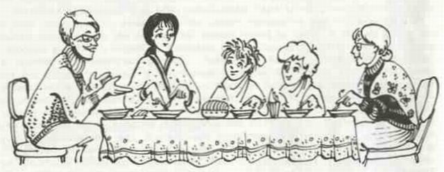 Красивый рисунок семья за столом карандашом (4)