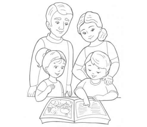 Красивый рисунок семья за столом карандашом (5)