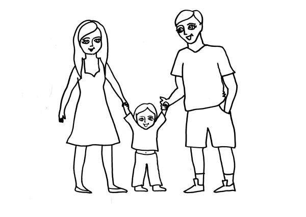 Красивый рисунок семья за столом карандашом (6)