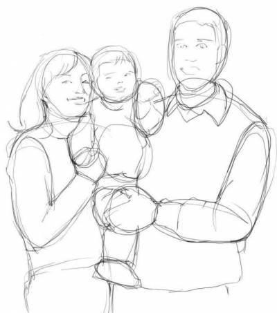 Красивый рисунок семья за столом карандашом (7)