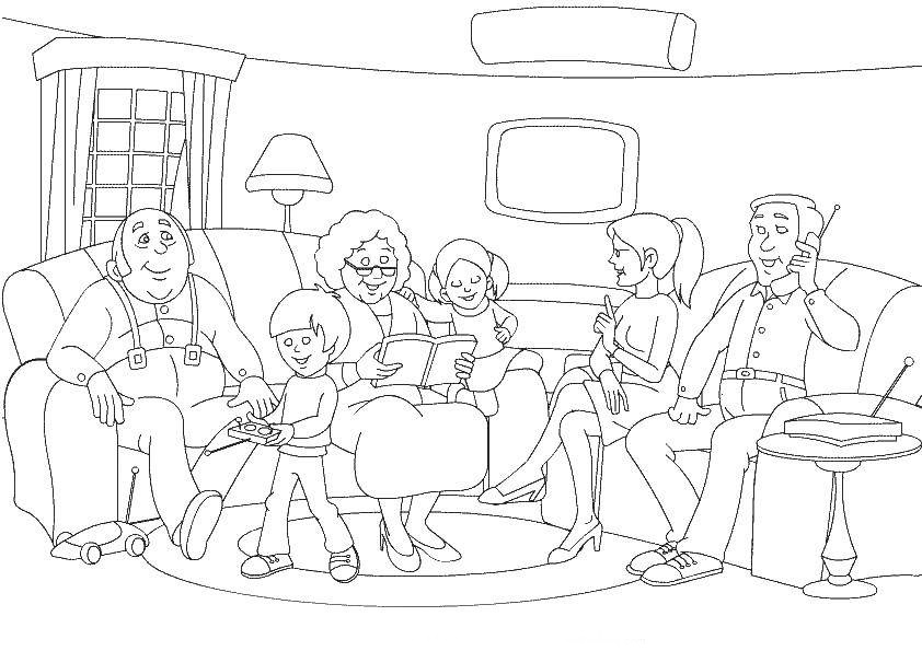 Красивый рисунок семья за столом карандашом (8)