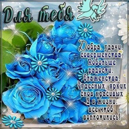 С Днем Рождения синие розы - подборка открыток (19)