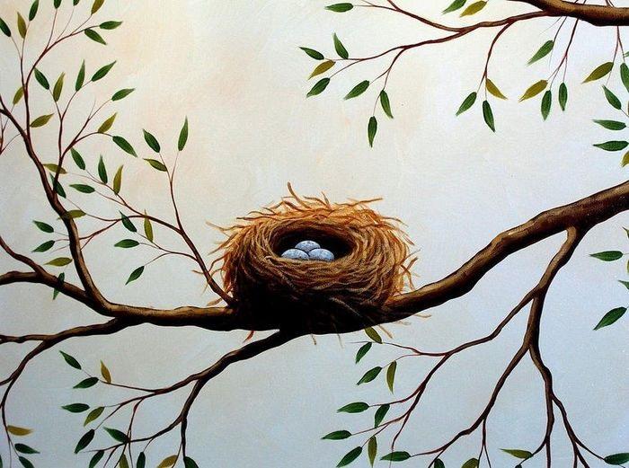 Гнездо на дереве - красивые рисунки для детей (17)