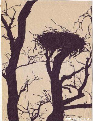 Гнездо на дереве - красивые рисунки для детей (6)