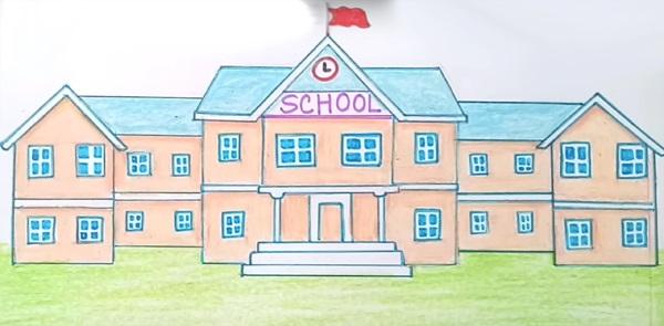 Рисунок Моя школа - как нарисовать, примеры (10)