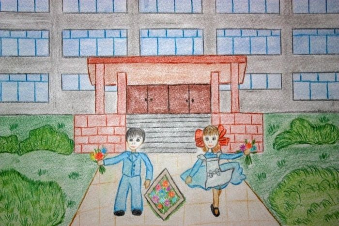 Рисунок Моя школа - как нарисовать, примеры (18)