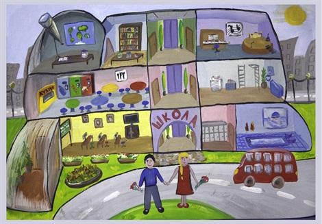 Рисунок Моя школа - как нарисовать, примеры (5)
