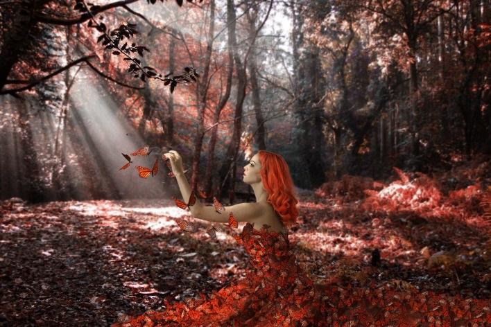 Рыжая девушка и осень - красивые картинки за 2021 год (13)
