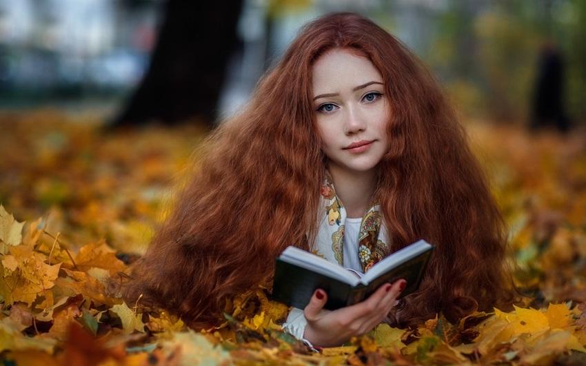 Рыжая девушка и осень - красивые картинки за 2021 год (17)