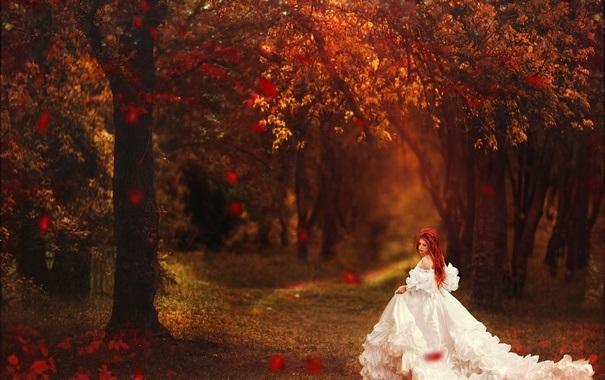 Рыжая девушка и осень - красивые картинки за 2021 год (22)