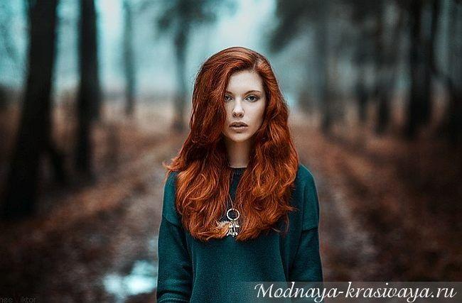 Рыжая девушка и осень - красивые картинки за 2021 год (3)