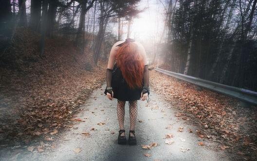 Рыжая девушка и осень - красивые картинки за 2021 год (5)