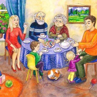 Моя семья за столом рисунок для детей   подборка идей (1)