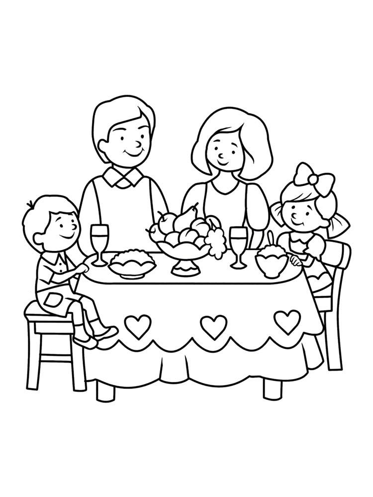 Моя семья за столом рисунок для детей - подборка идей (10)