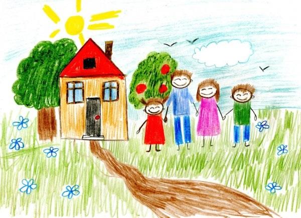 Моя семья за столом рисунок для детей - подборка идей (13)