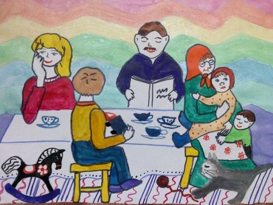 Моя семья за столом рисунок для детей - подборка идей (14)