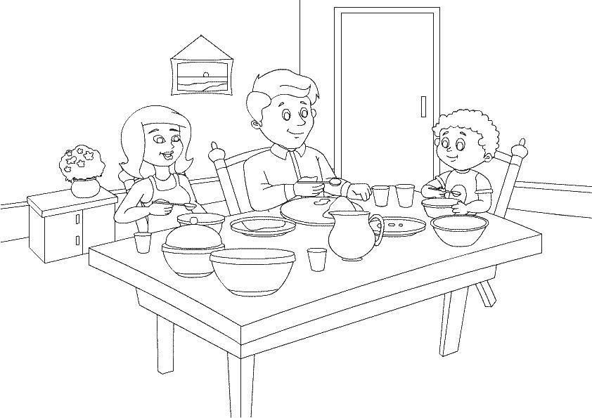 Моя семья за столом рисунок для детей - подборка идей (16)