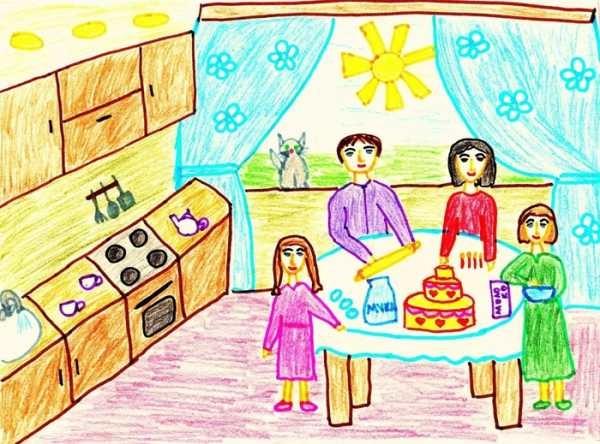 Моя семья за столом рисунок для детей - подборка идей (17)