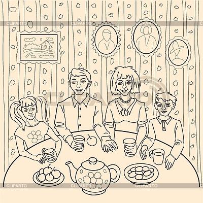 Моя семья за столом рисунок для детей - подборка идей (18)