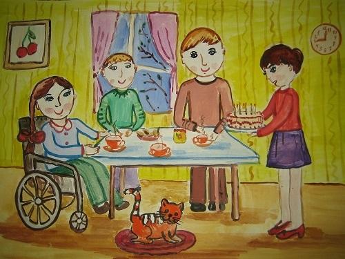 Моя семья за столом рисунок для детей - подборка идей (21)