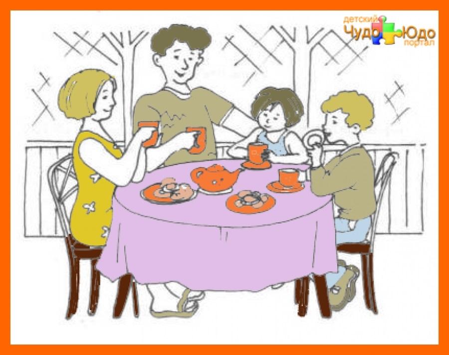 Моя семья за столом рисунок для детей - подборка идей (3)