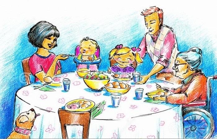 Моя семья за столом рисунок для детей - подборка идей (30)