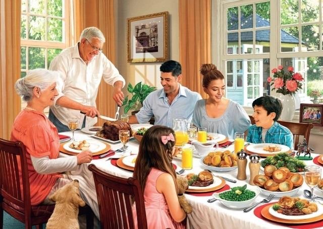 Моя семья за столом рисунок для детей - подборка идей (4)