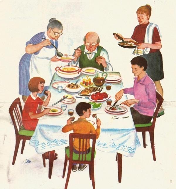 Моя семья за столом рисунок для детей - подборка идей (6)