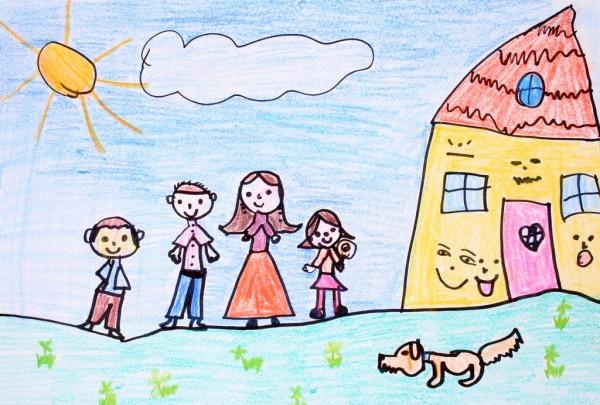 Моя семья за столом рисунок для детей - подборка идей (8)